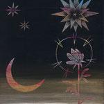 「夜道」ギャラリィトウキョウジョウ「えとものがたり展2」他出展 木パネルにアクリルガッシュ 220mm×273mm(F3) 2009年12月【個人蔵】