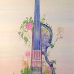 "「Hana-Violin ""Eleki""」ギャラリー檜「interactive-YOUTH-」出展 画用紙にアクリルガッシュ、色鉛筆 297×210mm(A4)"