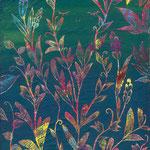 「草むら」ギャラリィトウキョウジョウ「えとものがたり展2」他出展 木パネルにアクリルガッシュ 190mm×273mm(P3) 2009年12月