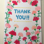 母の日ありがとうカード 2017年5月 画用紙にアクリルガッシュ 148mm×100mm【実家の母 蔵】