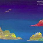 「空高く」ギャラリィトウキョウジョウ「えとものがたり展2」他出展 木パネルにアクリルガッシュ 273mm×190mm(P3) 2009年12月