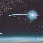 「流星群の日」ギャラリー檜「GALLERY HINOKI ART FAIR ⅩⅤ」出展 キャンバスにアクリルガッシュ 227×158mm(SM) 2013年8月【個人蔵】