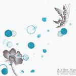「FlewFlower(blue)」アサコ ミニアルバム「かさなり」CDジャケット用イラストレーション 2010年 画用紙に鉛筆、インク