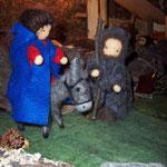Maria auf dem Esel mit Josef - große Krippe