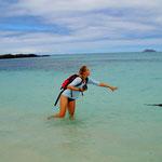 Das türkisblaue Wasser am Strand von Las Bachas