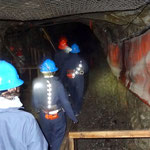 Visit of the first historic tunnel of the abandonned copper mine of Murdochville (Québec, Canada). Photo © Hugues Piolet.