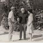 Archives Patrice Moreau. Le Dr Paul Barret, l'écrivain et homme de théâtre André Obey et l'épouse du Dr Barret Andrée  Barret dite Françoise en 1967