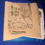 Trout man, Johannes Schöffmann, 1. edition 201. Etching/ leather