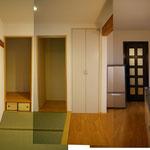 after : 一枚目と同じ向きの写真です。2部屋をつなげて広く明るくなりました。