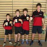 Meister Jungen Kreisklasse B 2007  v.l.n.r. Raphael Brakopp, Daniel Brakopp, Felix Schneider, Fabian Sackmann
