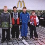 Meister Jungen Bezirksliga 1996/97 v.l.n.r. Benjamin Stickel, Philipp Steeb, Manfred Allgaier, Marcel Steeb