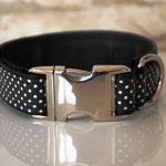 Klickhalsband schwarz mit Punkten