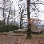 basamento del templo galo-romano en la Schauenburger Fluh (en la mera orilla de la roca vertical)