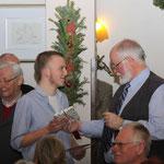 Mitgliederehrung während der Weihnachtsfeier 2014, Marcel Holtorf, 5 Jahre