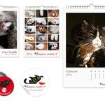 Samtpfoten Neukölln e. V.: Zwei unterschiedliche Kalender (Katzenkinder, äleter Katzen), Anstecker und Aufkleber