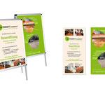 Parkett Company Berlin: Einladung zur Neueröffnung Gestatung von Flyer DIN-lang, Plakate und Anzeige
