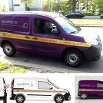 Layout Fahrzeugbeschriftung Malermeister André A. Descloux (unten Entwürfe, oben fertiges Produkt)