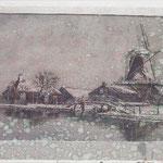 molen Kranenburg Kozakkenweg, regen op schetsmateriaal