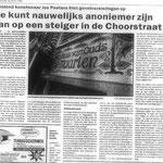 artikel over Choorstraat -  in opdracht van werkgroep Direkte Voorzieningen