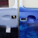 Umbau auf alt: Die Fahrertür hat schon ne neue Außenhaut.