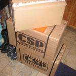 Als ic h dann nach Hause kam, standen da drei Pakete im Flur :o) CSP Brakes, was das wohl sein mag ....?!