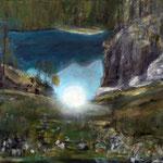 Der Schatz vom Silbersee 166 / 89      Der Sonnenreflex im Oeschinensee hat mich in seinen Bann gezogen.