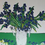 Verdes y azules . Acrílico lienzo 70x50 cms.