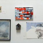 """""""favorites in FAVORITEN"""" - Ausstellungsansicht, von oben nach unten: Desislava Unger, Ilse Chlan, Alice Dittmar, Stephan Hafner, Desislava Unger"""
