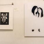 """""""favorites in FAVORITEN"""" - Ausstellungsansicht, links: Helena Becker, rechts: Christian Rupp"""