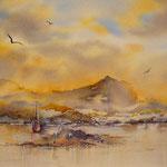 « Lever de soleil irlandais », aquarelle réalisée par Samantha Arnauts en 2008, (25x35)
