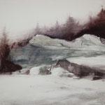 nieve XIII - acuarela sobre papel adherido a tabla - 22X27 cm