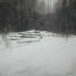 troncos en la nieve - acuarela sobre papel adherido a tabla -  40X40 cm