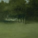 paisaje en verdes - acuarela sobre papel adherido a tabla - 100X 195 cm