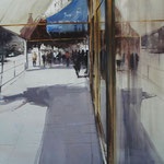 reflejos urbanos II - acuarela sobre papel arches adherido a tabla - 80X80 cm