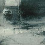 reflejo con barca - acuarela y grafito 22X27 cm