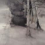 troncos en Burgos - acuarela sobre papel adherido a tabla - 120X70 cm