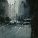 luces urbanas I - acuarela sobre papel adherido a tabla - 40X40 cm