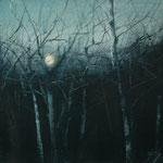 troncos y luna - acuarela sobre papel adherido a tabla - 22X27 cm