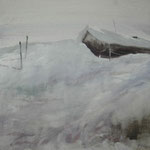 nieve IX - acuarela sobre papel adherido a tabla - 40X40 cm