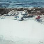 sombrilla en la playa - acuarela sobre papel aherido a tabla - 60X60 cm