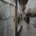 reflejos urbanos - acuarela sobre papel encolado en tabla - 60X60 cm