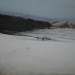 playa atlántica III - acuarela sobre papel arces adherido a tabla - 60x60 cm