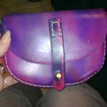 Small Curved Shoulder Bag, Sam Brown Fastener, Leather, Handmade
