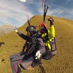 Flug nach einem Aufstieg zu Fuss am Sassauna (Grüsch)