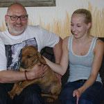 Kiano lebt jetzt bei Angelika, Henning und RR-Rüde Buddy ( hier auf dem Foto Tochter Kim )