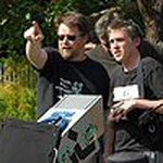 Director Chris Jones (left) with first AD Jonathan Andrew on location with Gone Fishing.