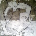 Eva Dvorak UMARMUNG    100cm x 100cm   Beton I Pigmente I Acryl auf Leinwand