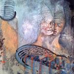 GEDANKEN - BRÜCKEN - ERLAUBT   100cm x 80cm  Beton I Pigmente I Acryl auf Leinwand