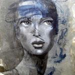 Gedankensturz  120 x 100  Beton I Pigmente I Öl I Acryl auf Leinwand