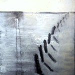 Morgenschatten 100 cm x 80 cm Beton I Pigmente I  Acryl auf Leinwand